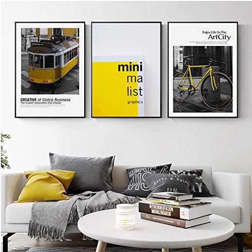 Scandinavische stijl, motief: stad, gebouwen, muur, kunstschilderen, geel, nostalgisch, trek, fiets, foto, voor woonkamer, 40 x 60 cm x 3 cm zonder lijst