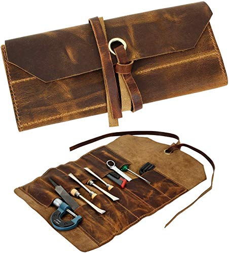 Leather Tool Roll Up Tool Kit Pouch - Leather Tools/Cutlery / Stationery/Pen/Pencil Pouch Wrench Roll/Chisel Bag (Brown) For School / College/Office/Work/Artist (Big Tool Pouch) (16X10 Inches)