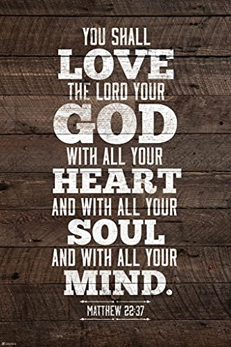 You Shall Love The Lord Your God with All Your Heart Matthew 22 37 Bible Quote Spiritual Decor Motivational Poster Bible Verse Christian Wall Decor Inspirational Cool Wall Decor Art Print Poster 8x12