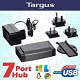 Targus 2 in 1 Portable/Desktop High Speed USB 2.0 7 Port Hub with International 5V Mains Power Adapter - Universal for Windows/Mac/Linux/Chrome OS Simple Plug n Play Installation