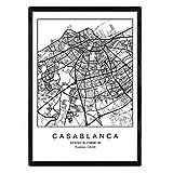 Nacnic Film Casablanca Stadtplan nordischen Stil schwarz