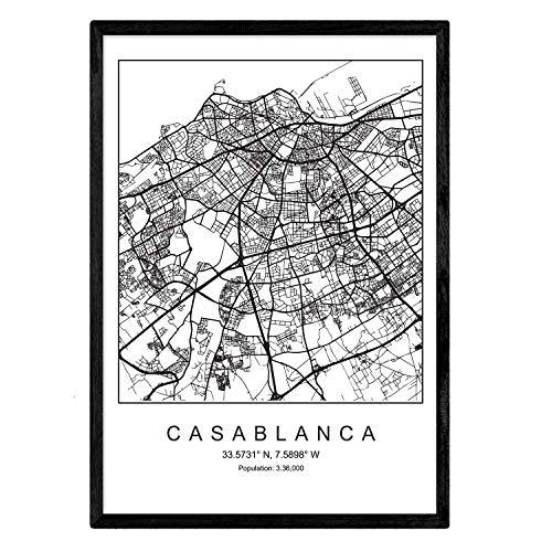 Nacnic Lámina Mapa de la Ciudad Casablanca Estilo nordico en Blanco y Negro. Poster tamaño A3 Sin Marco Impreso Papel 250 gr. Cuadros, láminas y Posters para Salon y Dormitorio
