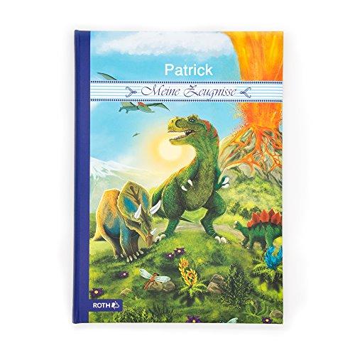 testimonio Carpeta con nombres con diseño de dinosaurio–Verde–Diseñado de manera individual