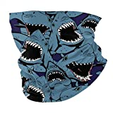 Angry Shark Face Mask Bandanas Headwear Neck Gaiter Headband Scarf 12 in 1 multifunktional für...