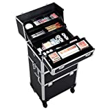 Yaheetech 3 in 1 Rolling Make Up Case Trolley, Aluminum Makeup...