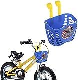 SOULBEST Cesta de Bicicleta Infantil Lindo Patrón de Dibujos Animados Colgando Cesta de Manillar de Bicicleta de Plástico Barra Larga para niños niñas Bicicleta y Monopatín (Azul)
