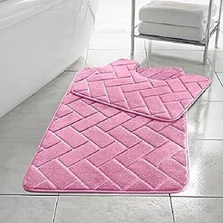 Lot de 2 tapis de bain en mousse à mémoire de forme antidérapants pour WC et salle de bain Rose
