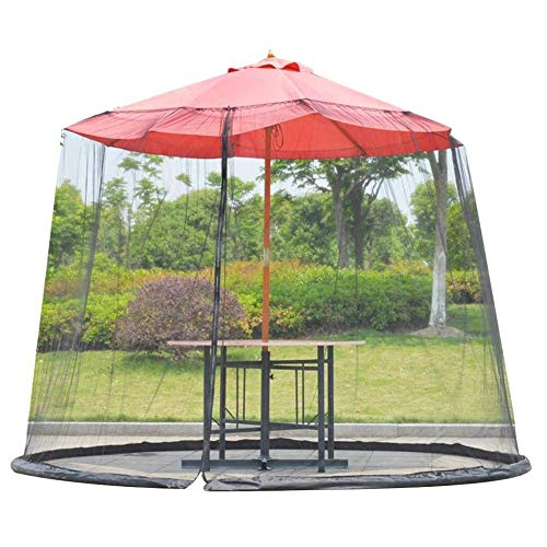 Outdoor Garden Umbrella Table Screen, Umbrella Cover Mosquito Netting Screen - Fits 10-11FT Umbrellas and Patio Tables (Black)