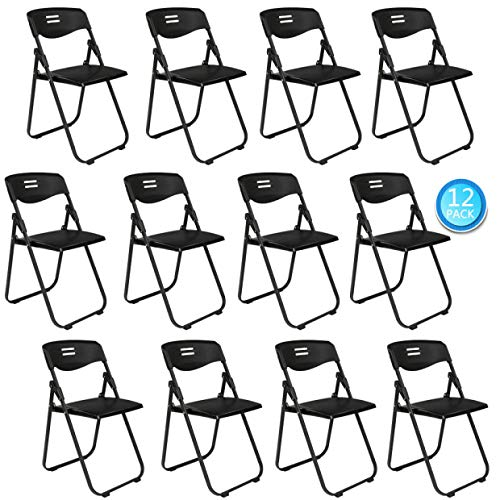 VINGLI 12 Pack Plastic Folding Chair, Indoor Outdoor Portable Stackable Commercial Seat with Steel Frame 350lbs for Events Office Wedding Party Dining
