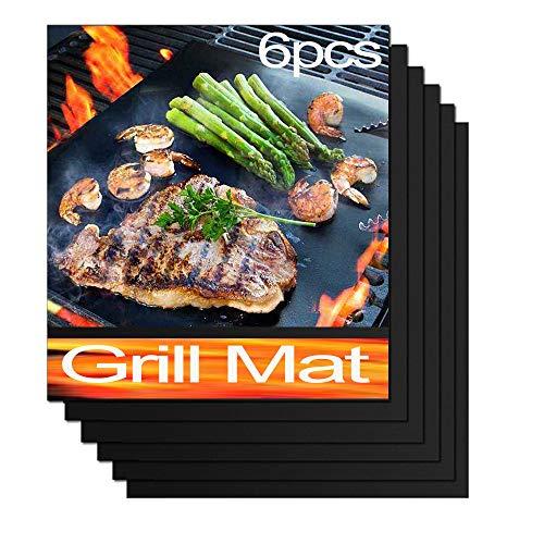 QH BBQ Grillmatte (6er Set) 40x33 cm I Extra Dick I Grillmatten für Gasgrill und Holzkohle-Frei für bis 260°C/500℉ (6er Set(40X33) cm)