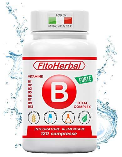 FitoHerbal Vitamina B Complex Integratore Complesso Vitamine B1 B2, B3, B5, B6, B7, B9, B12 Supporto per Stanchezza Sistema Immunitario Nervoso Memoria Capelli Occhi Pelle. Qualità Made in Italy.
