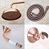 Hermanhao Cabezal de ducha colgante de baño de latón de cobre antiguo/spray manual/brazo de ducha/manguera de ducha/soporte de ducha ad001