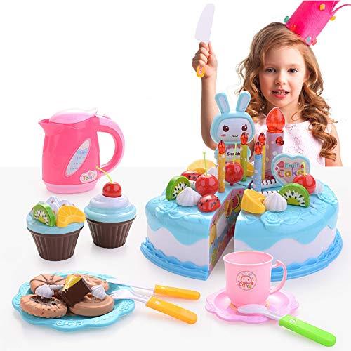 FORMIZON 62 Piezas Alimentos de Juguete, Tarta de Cumpleaños Juguete, Niños Pastel de Cumpleaños de Juguete Juguetes Educativos para Niño (Azul)