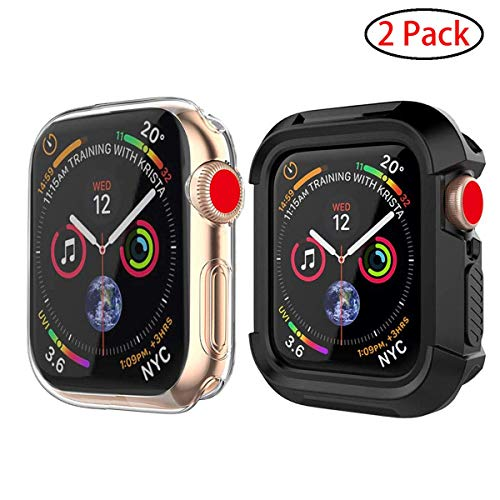 Doboli Compatible Apple Watch Series 5 Series 4 Case with Screen Protector 44mm 40mm Soft TPU Cover Accessories and iwatch case Bumper 2 Pack Clear/Black