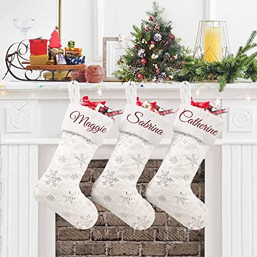 Duosheng & Elegant Bianca Calza di Natale da Appendere con Nome 3Pcs Grande Finta Pelliccia Calze Befana Personalizzate Natalizie Christmas Stockings per Decorazione per Feste Familiari