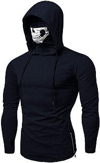Xmiral Felpa con Cappuccio Maschera da Uomo Skull Pure Color Pullover Maglie a Manica Lunga Camicetta