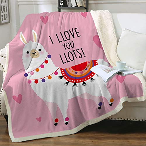 Sleepwish Llama Sherpa Blankets Throws Girls Home Fleece Throw Blanket Cute Soft Blanket for Sofa Chair Bed Office Travelling Camping Housewarming Gifts for Women, Pink, 50' X 60'