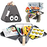 Teebee - Kids Travel Toy Box | Boys & Girls Snack + Activity Tray Table for Car Seat, Plane & Stroller - Storage Suitcase for Baby Tools - Play w. Included Bricks, Puzzle Book & Coloring Pens | Gray