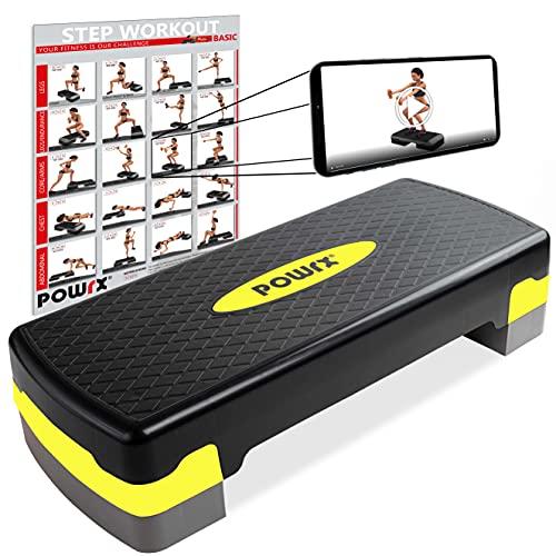 POWRX Step da Aerobica (68 x 28,5 cm) - Stepper Fitness Ideale per »Esercizi in casa« - Altezza Regolabile e Superficie Antiscivolo + PDF Workout (Nero/Giallo)