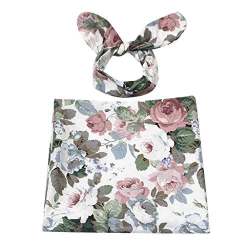 Baby Infant Floral Bedruckte Swaddle Decke Schlafsack Stirnband Set - Stil 5