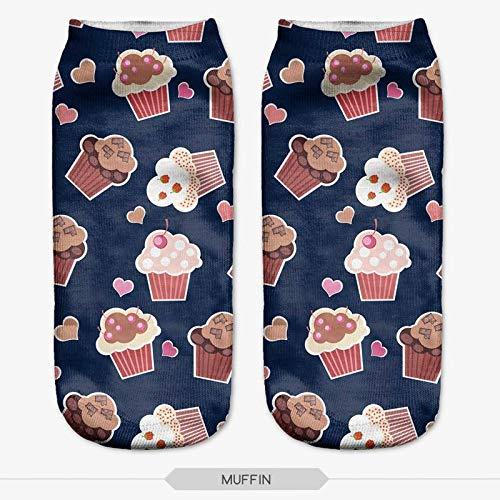 NANAYOUPIN 5 Paar Nieuwe 3D Digitale Print Sokken Leuke Flamingo Panda Heerlijke Voedsel Spelen Cool Gorilla Patroon Katoen Comfortabele Sokken Unisex Zwart