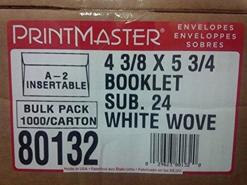 Printmaster A-2 Briefumschläge, A2, 11,4 x 14,6 cm, Weiß, 1000 Stück