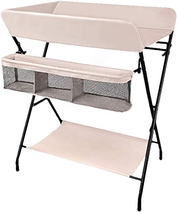 Snow Yang Baby changing table neonatal care table  multi-function foldable easy store without occupying space side storage basket drying rack  gray