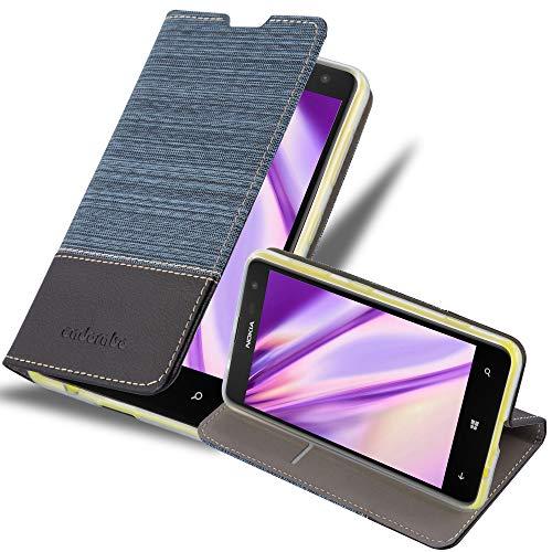 Cadorabo Custodia Libro per Nokia Lumia 625 in AZZURRO SCURO NERO - con Vani di Carte, Funzione Stand e Chiusura Magnetica - Portafoglio Cover Case Wallet Book Etui Protezione