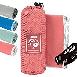 Backpacker's Journey microfiber towels in SML XL. Travel towel sets light, quick-drying, absorbent and antibacterial (salmon color L)