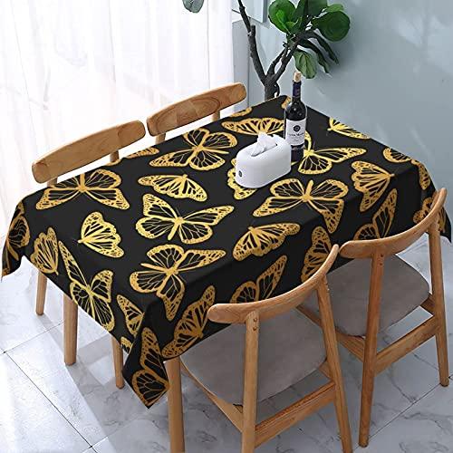 XIANGYANG Golden Silhouette Butterfly Rettangolo Tovaglia 54 X 72 Tovaglia impermeabile lavabile riutilizzabile per sala da pranzo Cucina Picnic Home Decor