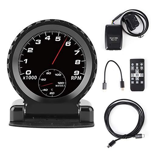 Auto LCD Rennanzeige, Smart Meter i-Runde LCD OBD2 Turbo Boost Wassertemperatur Drehzahl Öltemperatur Öldruck Volt Anzeige(Schwarz)