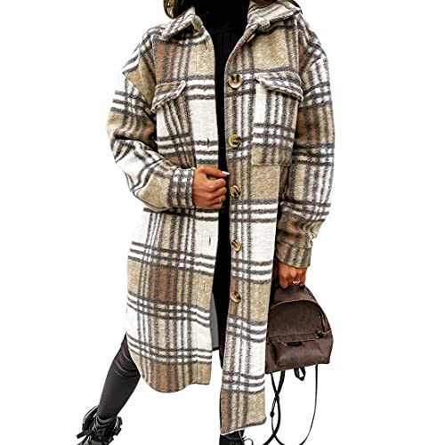 MUYOGRT Damen Karierte Jacke Hemdjacke Holzfällerjacke Langarm Oversized Hemdbluse Casual Karohemd Bluse Plüscha Mantel Tunik Boyfriend Jacken