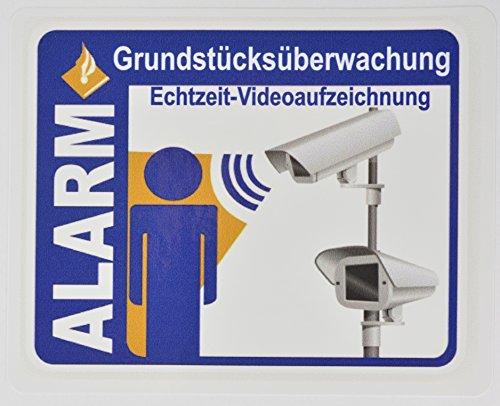 10 + 1 Bonus: Vinyl Premium Aufkleber Alarm - Grundstücksüberwachung - hochwertig & UV resistent - 10 x 8 cm - Außenanbringbar auf Wände, Fenster, Tore, Türen - Alarmanlage - Alarmgesichert Sticker