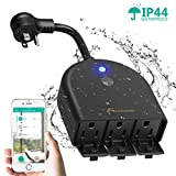 Outdoor Smart Plug, Foxnovo Outdoor Smart Outlet with 3 Waterproof Socket Wi-Fi Plug Wireless Remote Control Voice Control Timer Outlet, Compatible with Amazon Echo/Alexa and Google Home with US Plug