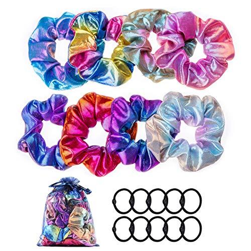 Haargummis Scrunchies Set Metallic Haargummis Mädchen, 8 Stück Regenbogen Stoff Scrunchie + 10 Pcs Schwarz Haargummi, Damen Frauen Elastische Haarbänder für...