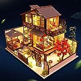 crazerop 3D Dollhouse Miniature DIY Meubles Kit de Maison de poupée en LED avec Cache-poussière Comprend Un Balcon de Restaurant mansardé Cadeau de Saint Valentin de Noël 29 * 20.7 * 22.4cm