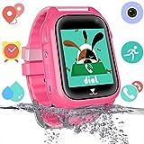 Impermeable GPS Smartwatch para Niños, Reloj Inteligente Phone con GPS LBS Tracker SOS Chat de Voz Cámara Despertador Podómetro Juego Cálculo para Regalos Estudiantes Compatible con iOS Android, Rosa