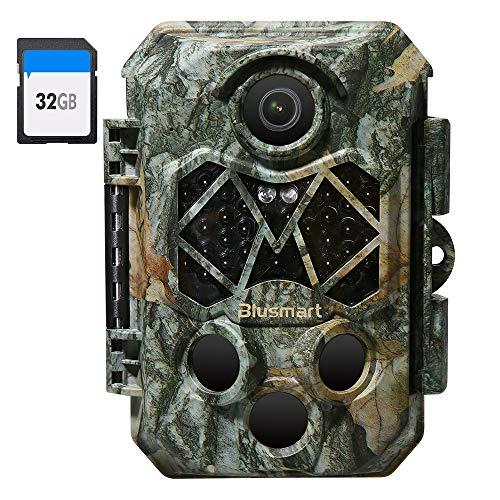 Blusmart Wildkamera 32MP 4K mit 32GB SD Card Infrarot-Nachtsicht Jagdkamera mit 940nm IR LEDs, Zeitschaltuhr und IP66 Wasserdicht
