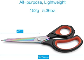 LIVINGO Premium Tailor Scissors Heavy Duty Multi-Purpose Titanium Coating Forged Stainless Steel Sewing Fabric Leathe...