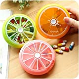 3Pcs Colorful Cute Fruit Portable Rotating Style Travel 7 Compartment Weekly Pill Storage Case Box Medicine Holder Dispenser Organizer Container