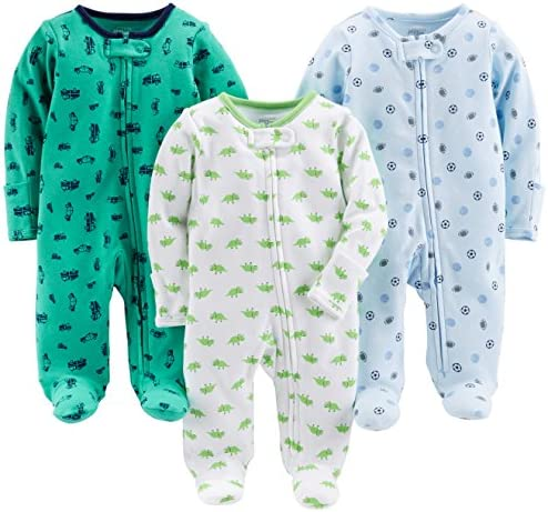 Simple Joys by Carter s Baby Boys 3 Pack Sleep and Play Sports Cars Dino with Cuffs Newborn product image