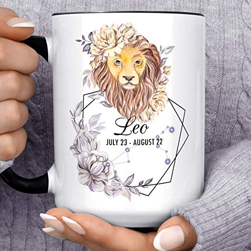 Leo Zodiac Sign Mug   Watercolor Lion Constellation Horoscope Ceramic Cup   July August Birthday Constellation Microwave Dishwasher Safe