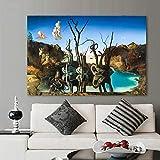Salvador Dali carteles abstractos e impresión de cisnes que reflejan elefantes lienzo pintura cuadro de arte de pared decoración de sala de estar 70x105cm (27.56x41.34in) sin marco