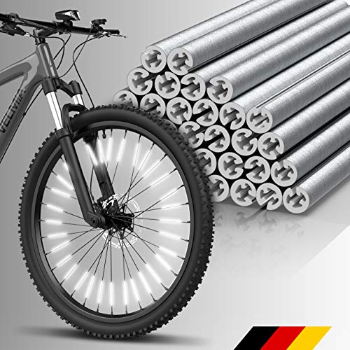 Velmia Reflectores para radios [36 Piezas] - Visibilidad de 360° y fácil Montaje - Reflectantes para radios de Bicicleta con Material Reflectante