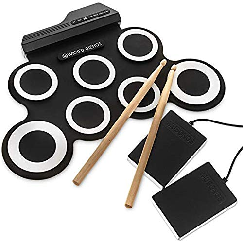 Digital Drum, Elektrisches Schlagzeug, tragbares digitales Musikpad, eingebauter Lautsprecher, faltbares Übungsinstrument, lernen Sie, Ihren eigenen Beat zu spielen und aufzunehmen,Black