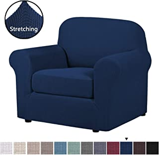 H.VERSAILTEX Stretch Chair Slipcovers Sofa Covers 2 Pieces Furniture Protector Rich Textured Lycra High Spandex Small Checks Knitted Jacquard Sofa Cover (Chair-1 Seater, Navy)