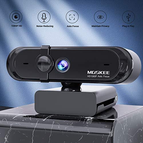 Moskee Full-HD 1080P Webcam mit Mikrofon, Autofokus, Abdeckung, Belichtungskorrektur, USB-Anschluss, PC Kamera für Videochat und Aufnahme, Live-Streaming, kompatibel mit Windows, Mac und Android