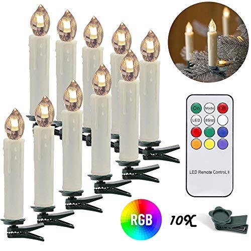 wolketon LED Weihnachtskerzen 10er Kabellose Kerzen, LED Christbaumkerzen mit Timer, Beige, Warmweiß und RGB, Flammenlose