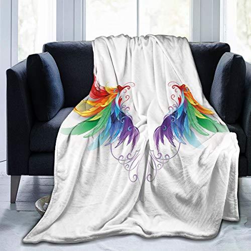 DUILLY Manta de forro polar suave con plumas realistas en color arco iris formando alas de vuelo ángeles Simétrico hogar hotel cama sofá manta manta para pareja niños adultos 150 x 200 cm