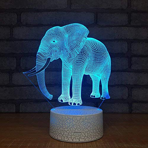 DingGreat Elephant 3D Illusion Lamp 7 Color Change Touch Sensitive Switch LED Night Light with Acrylic Flat, ABS Base, USB Charge for Home Decor Perfect Gifts for Baby